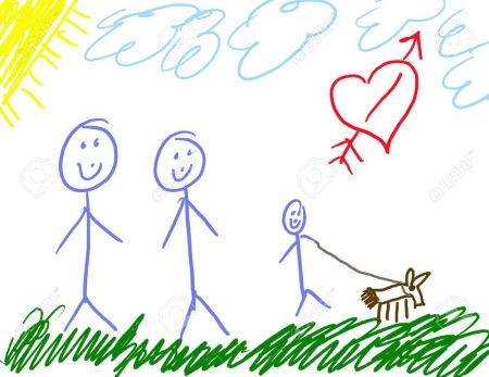 2403025-Child-s-Drawing-of-His-Family--Stock-Photo-drawing